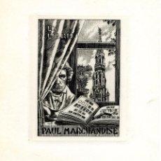 Arte: J. FERNÁNDEZ SÁEZ (1924-). EX LIBRIS PAUL MARCHANDISE. Lote 88711132
