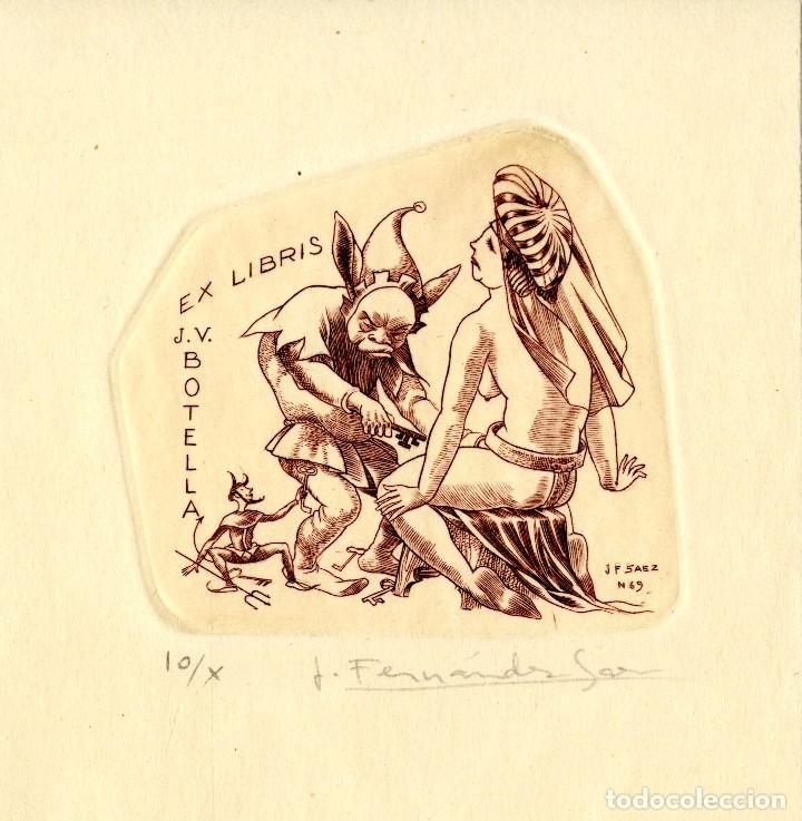 FERNÁNDEZ SÁEZ, J (1924-) EX LIBRIS PARA J V. BOTELLA (Arte - Ex Libris)