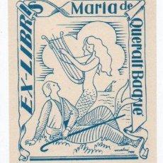 Arte: EX-LIBRIS DE MARÍA DE QUERALT BAQUÉ - AUTOR MOLNE. Lote 90713730