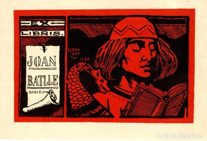 BRUNET, LORENZO (1873-1939). EX LIBRIS PARA JOAN BATLLE. 1920 (Arte - Ex Libris)