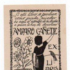 Arte: EX-LIBRIS DE AMPARO CAÑETE - AUTOR J. FIGUEROLA. Lote 96498231