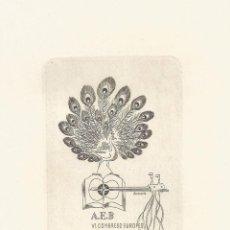 Arte: EX-LIBRIS REALIZADO POR JIRI A.SVENGSBIRPARA EL VI CONGRESO EUROPEO DE BARCELONA EN 1958. Lote 102379419