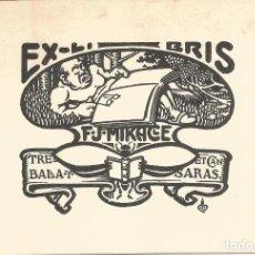 Arte: EX-LIBRIS REALIZADO POR GAIETÀ CORNET I PALAU PARA FREDERIC JOAN MIRACLE I VILA - 1903. Lote 102439459