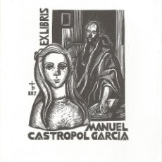Arte: EX-LIBRIS FIRMADO REALIZADO POR ORIOL Mª DIVI PARA MANUEL CASTROPOL GARCIA. Lote 103722487