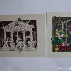 Arte: LOTE DE 2 EX-LIBRIS EXLIBRIS BOOKPLATE DE MORVAN. ERÓTICO DESNUDO TEMPLO GRIEGO IMPRENTA. Lote 103956887