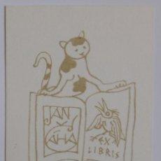 Arte: A.70 EX-LIBRIS EXLIBRIS BOOKPLATE L. J. KASPAR. GATO LIBRO PÁJARO. Lote 109065419