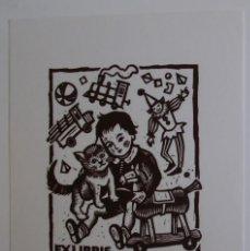 Arte: A.71 EX-LIBRIS EXLIBRIS BOOKPLATE PARA DR. CHRISTIAN NEUMANN. GATO NIÑO JUGUETES TREN MUÑECO CABALLO. Lote 109065635