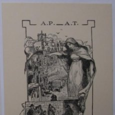 Arte: A.72 REIMPRESIÓN EX-LIBRIS EXLIBRIS BOOKPLATE P. COURDAULT, 1902. DISPENSARIO MEDICINA. Lote 109440051