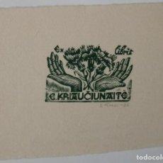 Arte: A.75 EX-LIBRIS EXLIBRIS J. KUZMINSKIS, 1976. MANOS FLORES. Lote 109441127