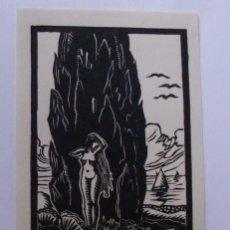Arte: A.80 EX-LIBRIS EXLIBRIS RENÉ BARANDE. MUJER DESNUDO ARBOL LIBRO PLUMA MAR. Lote 109443795