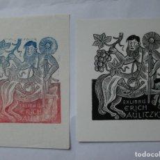 Arte: A.86 LOTE DE 2 EX-LIBRIS EXLIBRIS HERMANN HÜFFERT. CENTAURO UVAS. Lote 109446347