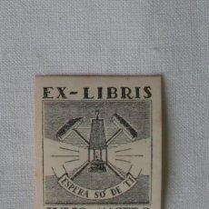 Arte: A.91 MINI EX-LIBRIS EXLIBRIS PARA JÚLIO DE MACEDO DE OLIVEIRA SIMÕES. LÁMPARA MINERO MAZA PICO. Lote 109450647