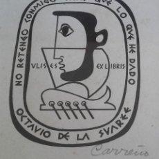 Arte: GRABADO EXLIBRIS DE MARIO CARREÑO PARA COLECCIÓN DE OCTAVIO DE LA SUAREÉ. FIRMADO. CUBA.1949.. Lote 110183967