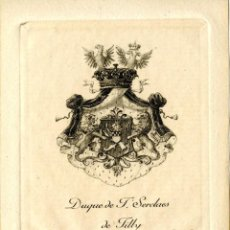 Art: EX LIBRIS DEL DUQUE DE T'SERCLAES DE TILLY. Lote 139707585