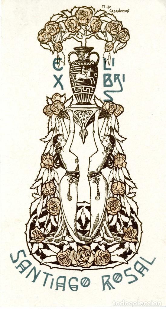 CASADEMUNT GIRALT M. (1881-1964). EX LIBRIS PARA SANTIAGO ROSAL (Arte - Ex Libris)