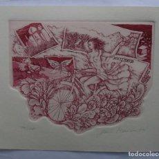 Arte: Z.200 EX-LIBRIS EXLIBRIS BOOKPLATE JORIS MOMMEN, 1989. BICICLETA MUCHACHA DESNUDO MARIPOSA CABALLERO. Lote 114615055