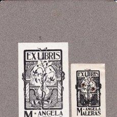 Arte: 2 EXLIBRIS ANGELA MALERAS 7X11CTS. Y 4,5 X 7 CTS. . Lote 114679103