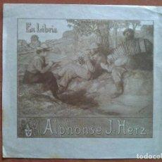 Arte: EX LIBRIS DE ALPHONSE J. HERZ - MOTIVO BUCÓLICO. Lote 121286715