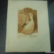 Arte: EX LIBRIS DE EDUARDO MOLAS PARA TERESA MOLAS EXLIBRIS AGUAFUERTE OPUS 2 RARO 1920. Lote 81895076