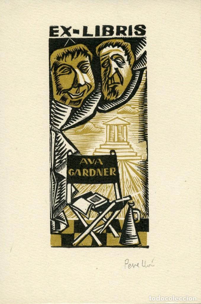 EX LIBRIS ORIGINAL DE LA ACTRIZ AVA GARDNER. FIRMADO POR PERELLÓN (Arte - Ex Libris)