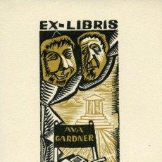 Arte: EX LIBRIS ORIGINAL DE LA ACTRIZ AVA GARDNER. FIRMADO POR PERELLÓN. Lote 126642740