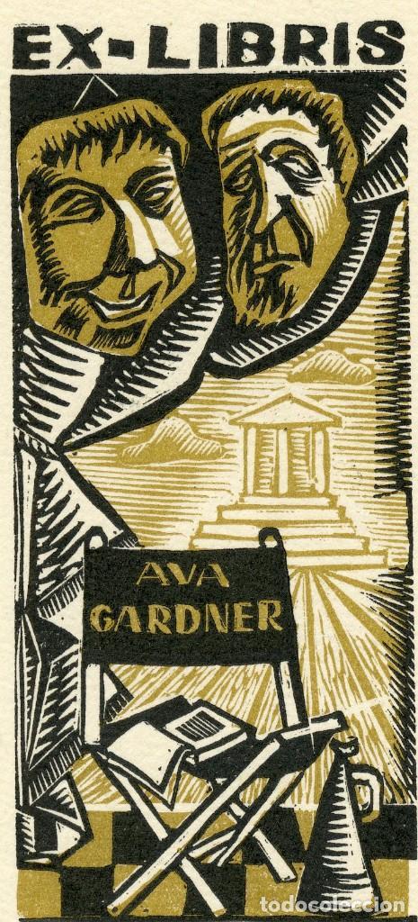Arte: EX LIBRIS ORIGINAL DE LA ACTRIZ AVA GARDNER. FIRMADO POR PERELLÓN - Foto 2 - 126642740