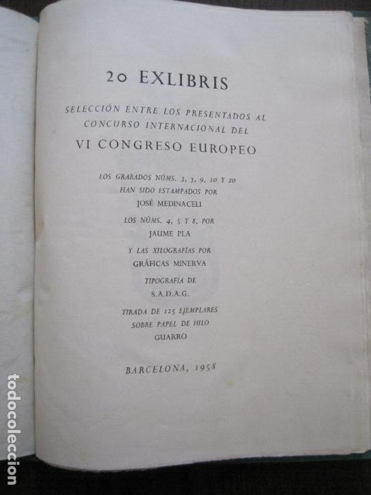 20 EX LIBRIS-VI CONGRESO EUROPEO-MEDINACELLI -PLA..-AÑO 1958-PAPEL HILO GUARRO -VER FOTOS-(X-2270) (Arte - Ex Libris)