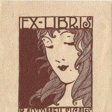Arte: EX-LIBRIS DE ROBERT SABATÉ PARA BARTOMEU SIGALES - 1919. Lote 132748894