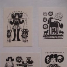 Arte: LOTE DE 4 EX-LIBRIS EXLIBRIS BOOKPLATES KOT. MUJER CABEZA CERVEZA BALANZA CABALLO CONEJO REY PLUMA. Lote 133235726