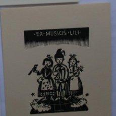 Arte: .301 EX-LIBRIS EXLIBRIS BOOKPLATE. NIÑA NIÑO PÁJARO MÚSICA. Lote 133288798