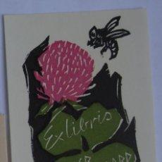 Arte: .302 EX-LIBRIS EXLIBRIS BOOKPLATE PARA HELMER FOGEDGAARD. FLOR ABEJA. Lote 133289026