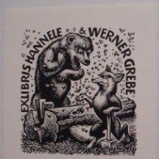 Arte: .305 EX-LIBRIS EXLIBRIS BOOKPLATE FRANK IVO VAN DAMME, OPUS 440. ZORRO OSO HACHA LEÑADOR ABEJA. Lote 133290118