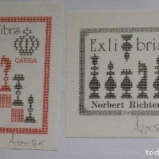 Arte: .338 LOTE DE 2 EX-LIBRIS EXLIBRIS BOOKPLATE AJEDREZ. Lote 133950598