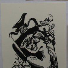 Arte: .339 EX-LIBRIS EXLIBRIS BOOKPLATE PARA KLAUS RÖDEL. ANFORA DESNUDO UVAS. Lote 133950914