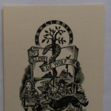 Arte: .340 EX-LIBRIS EXLIBRIS BOOKPLATE PARA VALERE DE WOLF. CAPERUCITA ROJA LOBO LIBRO SERPIENTE. Lote 133951382