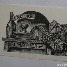 Arte: .34 EX-LIBRIS EXLIBRIS BOOKPLATE HANS HAUKE. TONEL UVAS COPA BOTELLA LIBROS. 40 X 65 MM. GASTOS MA. Lote 133952082