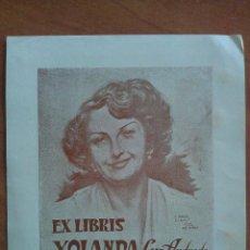 Arte: EX LIBRIS 1952 YOLANDA LUIS ANDRADE - IN MEMORIAN. Lote 134972538