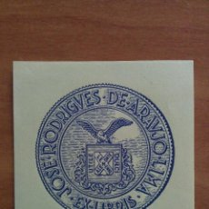 Arte: EX LIBRIS JOSE RODRIGUES DE ARAUJO - LIMA. Lote 135334918