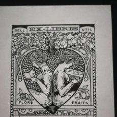 Arte: EXCEPCIONAL EXLIBIRS DE RAMON CASALS I VERNÍS (REUS 1860 - 1920) PARA J. MONSALVATJE. 1917. Lote 138777626
