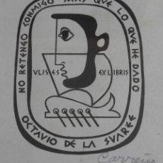 Arte: EXLIBRIS. GRABADO EN COBRE DE MARIO CARREÑO. COLECCIÓN DE OCTAVIO DE LA SUAREÉ. FIRMADO. CUBA.1949.. Lote 139302902