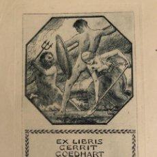Arte: O.41 EX-LIBRIS EXLIBRIS BOOKPLATE HANS DEITERS. MUJER PALA NEPTUNO TRIDENTE HOMBRE LANZA ESCUDO. Lote 139811630