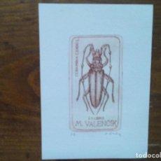 Arte: O.43 EX-LIBRIS EXLIBRIS BOOKPLATE VIKTOR CHRENKO, 1987. INSECTO CERAMBIX CERDO CAPRICORNIO ENCINAS. Lote 140398774