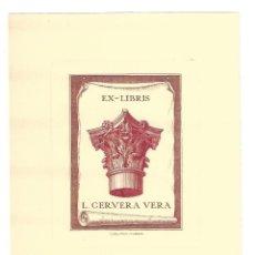 Arte: EX- LIBRIS AGUAFUERTE.- L. CERVERA VERA. DIBUJADO POR C. DEL HOM- MADRID. Lote 141220122