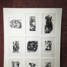 Arte: 9 EXLIBRIS / EX LIBRIS DE RE VINICA, DE RAFAEL MASÓ SUBIRANA - GRABADO ORIGINAL -VITICULTURA VINO. Lote 141760886