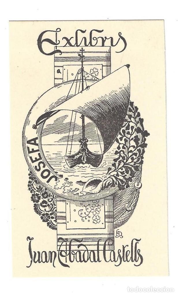EX- LIBRIS.- JUAN ABADAL CASTELLS. DIBUJADO POR MARIANO CASTELLS- 1918 (Arte - Ex Libris)
