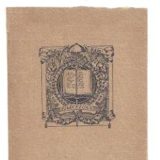 Arte: EX- LIBRIS.- ANTONI SALÓ. MODERNISTA. BARCELONA- 1912. Lote 141806914