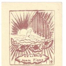 Arte: EX- LIBRIS.- JUAN FISAS. DIBUJADO POR PINO DELLA SELVA. PARÍS- 1949. Lote 141807254