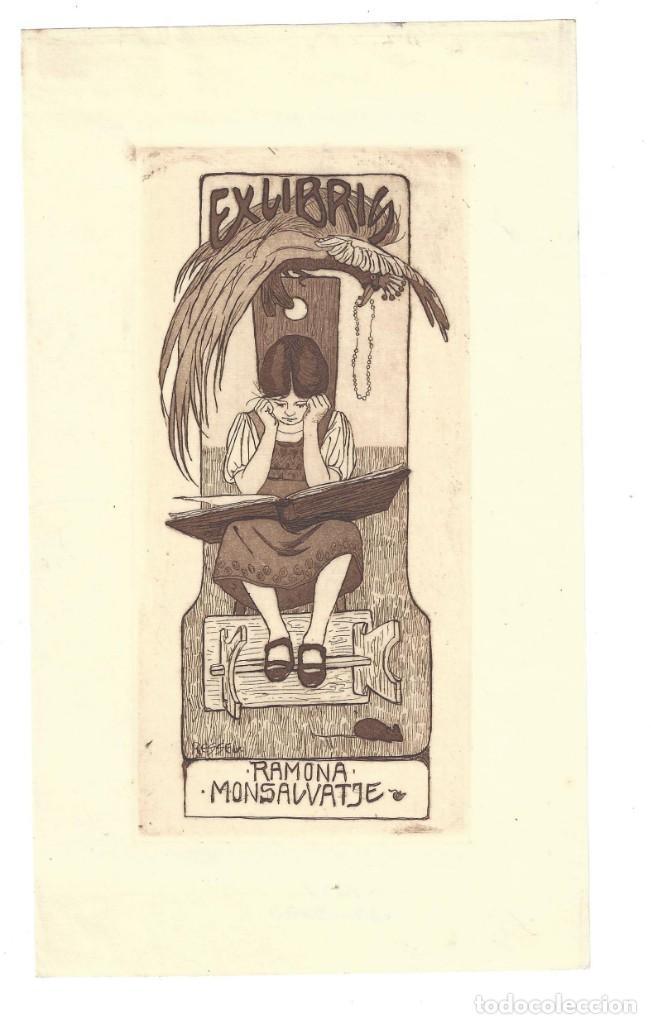EX- LIBRIS. AGUAFUERTE.- RAMONA MONSALVATGE. DIBUJADO POR RESSEN. MODERNISTA (Arte - Ex Libris)