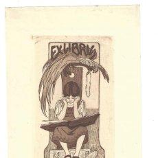 Arte: EX- LIBRIS. AGUAFUERTE.- RAMONA MONSALVATGE. DIBUJADO POR RESSEN. MODERNISTA. Lote 141808222