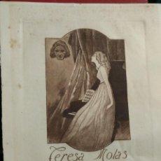 Arte: EX LIBRIS DE EDUARDO MOLAS AGUAFUERTE PARA TERESA MOLAS OPUS 2 RARO EXLIBRIS 1920. Lote 143579942